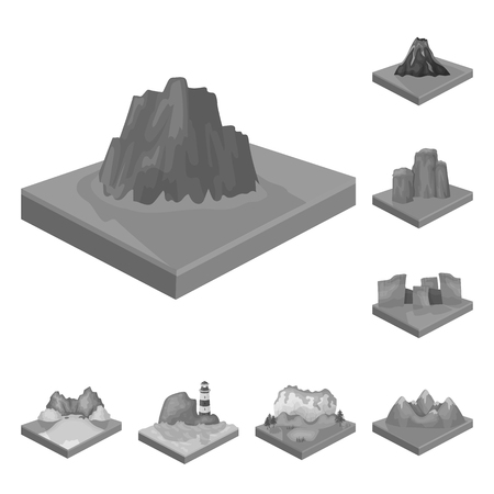 Mountains, massive monochrome icons in set collection for design. The surface of the earth vector isometric symbol stock  illustration. Иллюстрация