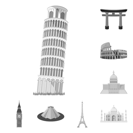 Sights of different countries monochrome icons in set collection for design. Famous building vector symbol stock  illustration. Vettoriali