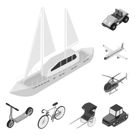 Different types of transport monochrome icons in set collection for design. Car and ship isometric vector symbol stock  illustration.