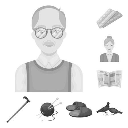 Human old age monochrome icons in set collection for design. Pensioner, period of life vector symbol stock  illustration. Vettoriali