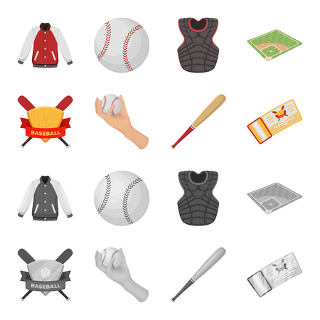 Club emblem, bat, ball in hand, ticket to match. Baseball set collection icons in cartoon,monochrome style vector symbol stock illustration web.