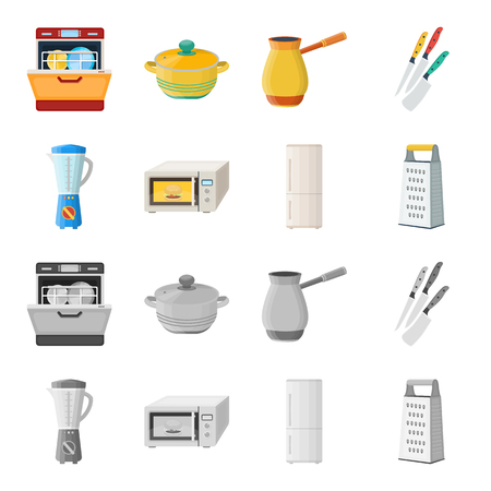 Kitchen equipment cartoon,monochrome icons in set collection for design. Kitchen and accessories vector symbol stock  illustration.