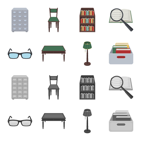 Glasses, a wooden table, a floor lamp, a box with books. A library and a bookstore set collection icons in cartoon,monochrome style vector symbol stock illustration . Vectores