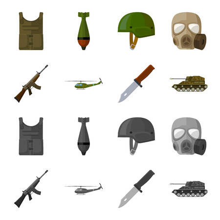Assault rifle M16, helicopter, tank, combat knife. Military and army set collection icons in cartoon,monochrome style vector symbol stock illustration .