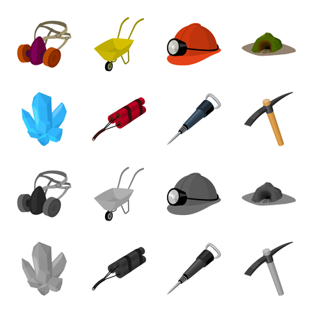 Minerals, explosives, jackhammer, pickaxe.Mining industry set collection icons in cartoon,monochrome style vector symbol stock illustration . Illustration