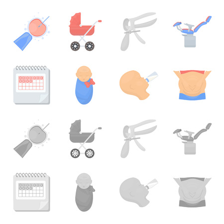 Calendar, newborn, stomach massage, artificial feeding. Pregnancy set collection icons in cartoon,monochrome style vector symbol stock illustration .