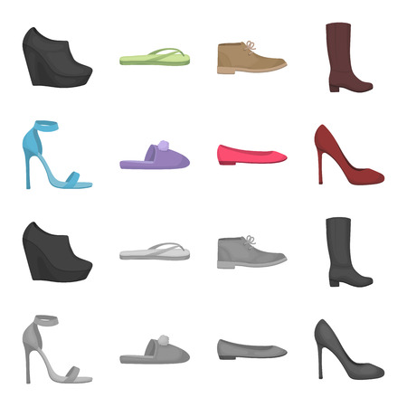 Blue high-heeled sandals, homemade lilac slippers with a pampon, pink women ballet flats, brown high-heeled shoes. Shoes set collection icons in cartoon,monochrome style vector symbol stock illustration .