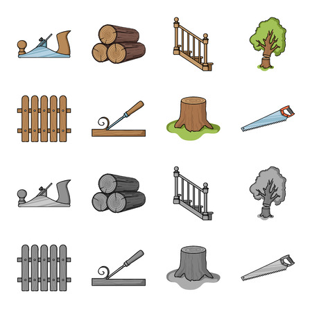 Fence, chisel, stump, hacksaw for wood. Lumber and timber set collection icons in cartoon,monochrome style vector symbol stock illustration . Illustration