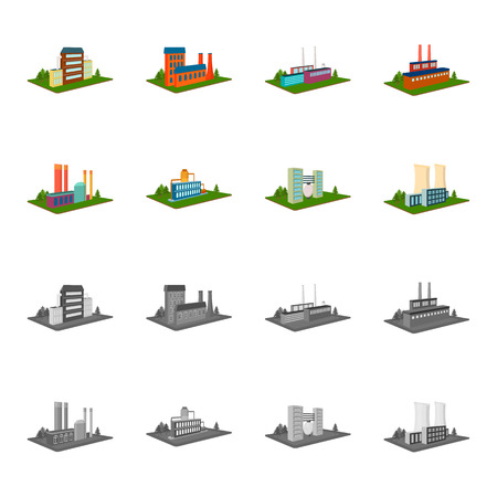 Processing factory,metallurgical plant. Factory and industry set collection icons in cartoon,monochrome style isometric vector symbol stock illustration .