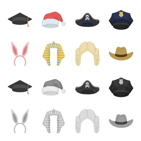 Rabbit ears, judge wig, cowboy. Hats set collection icons in cartoon,monochrome style vector symbol stock illustration .