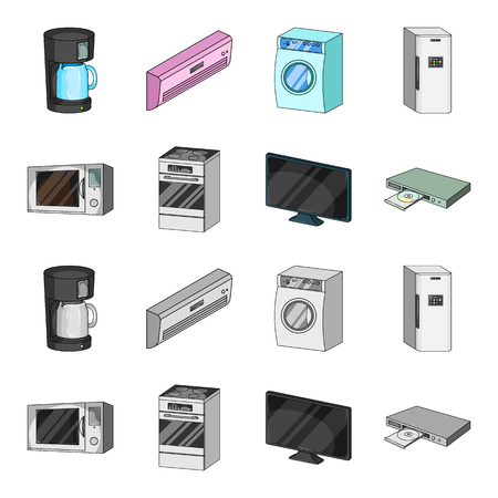 Home appliances and equipment cartoon,monochrome icons in set collection for design.Modern household appliances vector symbol stock  illustration. Ilustração