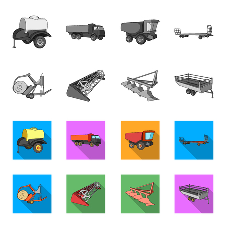Plow, combine thresher, trailer and other agricultural devices. Agricultural machinery set collection icons in monochrome,flat style vector symbol stock illustration .