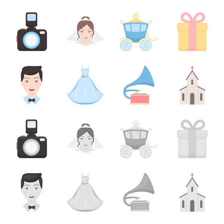 Wedding dress, groom, gramophone, church. Wedding set collection icons in cartoon,monochrome style vector symbol stock illustration .
