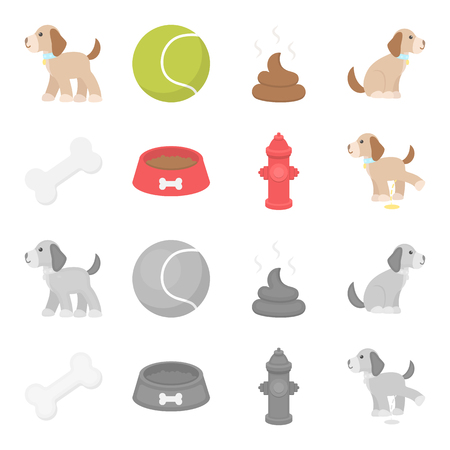 A bone, a fire hydrant, a bowl of food, a pissing dog.Dog set collection icons in cartoon,monochrome style vector symbol stock illustration .
