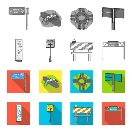 Stands and signs and other  icon in monochrome,flat style.Limiters of traffic icons in set collection.