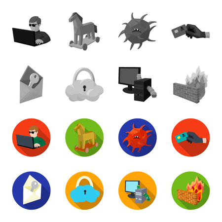 System, internet, connection, code .Hackers and hacking set collection icons in monochrome,flat style vector symbol stock illustration .