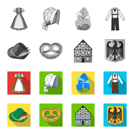 Country Germany monochrome,flat icons in set collection for design. Germany and landmark vector symbol stock  illustration. Illustration