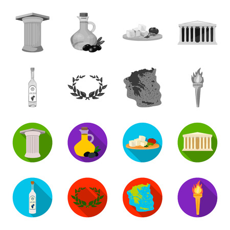 Greece, country, tradition, landmark .Greece set collection icons in monochrome,flat style vector symbol stock illustration .