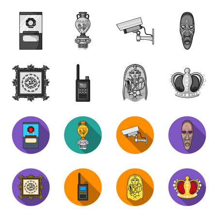 Picture, sarcophagus of the pharaoh, walkie-talkie, crown. Museum set collection icons in monochrome,flat style vector symbol stock illustration .