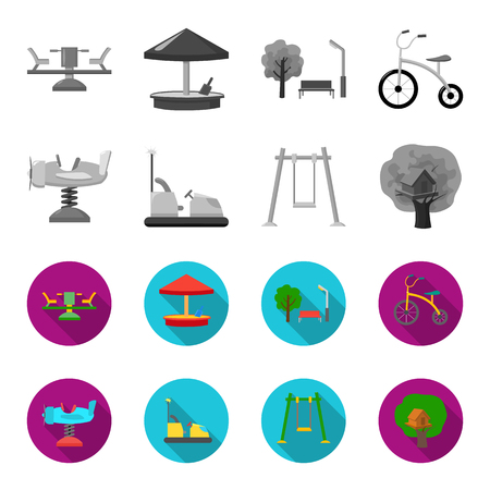 Airplane on a spring, swings and other equipment. Playground set collection icons in monochrome,flat style vector symbol stock illustration .
