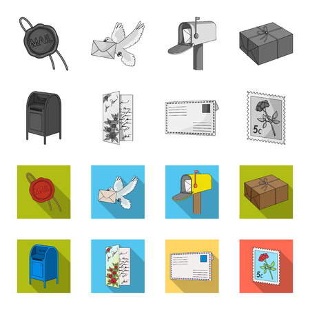 Mailbox, congratulatory card, postage stamp, envelope.Mail and postman set collection icons in monochrome,flat style vector symbol stock illustration .