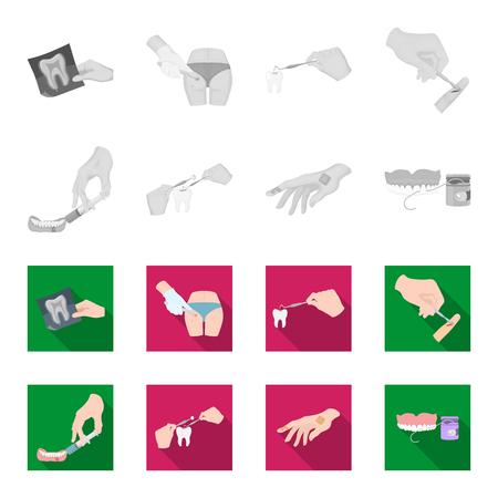 Anesthetic injection, dental instrument, hand manipulation, tooth cleaning and other  icon in monochrome,flat style.bactericidal plaster, medicine icons in set collection. Illustration