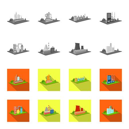 Verwerkingsfabriek, metallurgische fabriek. Fabriek en industrie instellen collectie iconen in zwart, plat stijl isometrische vector symbool stock illustratie web.