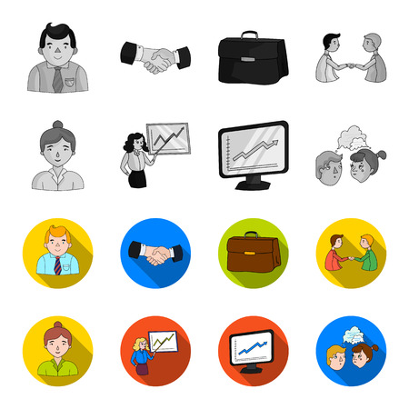 Businesswoman, growth charts, brainstorming.Business-conference and negotiations set collection icons in monochrome,flat style vector symbol stock illustration .
