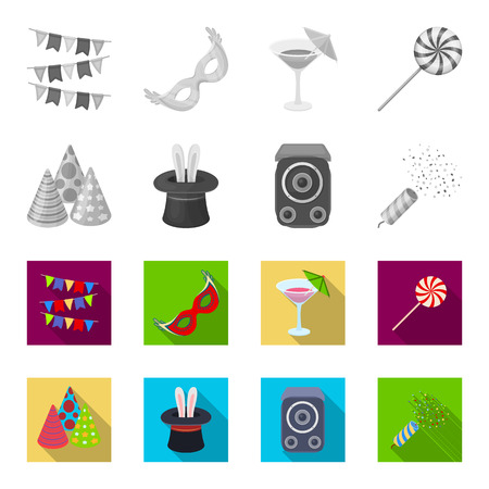 Tricks, music and other accessories at the party.Party and partits set collection icons in monochrome,flat style vector symbol stock illustration web.