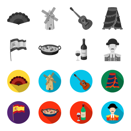 Flag with the coat of arms of Spain, a national dish with rice and tomatoes, a bottle of wine with a glass, a bullfighter, a matador. Spain country set collection icons in monochrome,flat style vector symbol stock illustration .