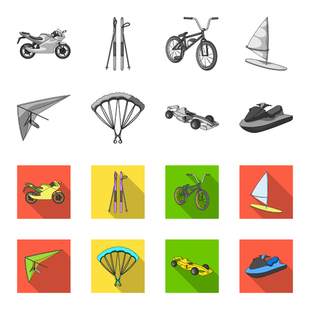 Hang glider, parachute, racing car, water scooter.Extreme sport set collection icons in monochrome,flat style vector symbol stock illustration web.