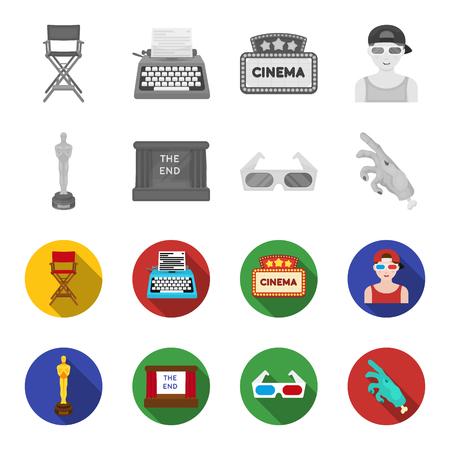 Award Oscar, filmscherm, 3D-bril. Films en film instellen collectie iconen in zwart, plat, zwart-wit stijl vector symbool stock illustratie web.
