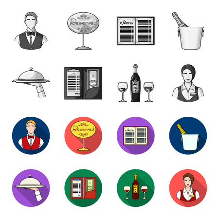 A tray with a cloth, check and cash, a bottle of wine and glasses, a waitress with a badge. Restaurant set collection icons in monochrome,flat style vector symbol stock illustration .