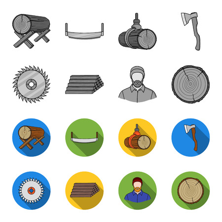 Circular saw, a working carpenter, a stack of logs. A sawmill and timber set collection icons in monochrome,flat style vector symbol stock illustration web.