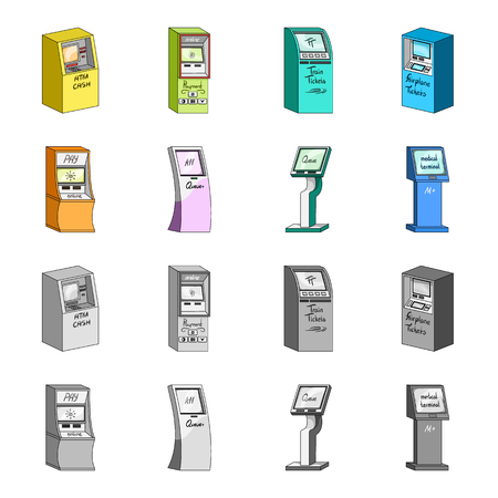Medical terminal, ATM for payment,apparatus for queue. Terminals set collection icons in cartoon,monochrome style isometric vector symbol stock illustration  . 矢量图像