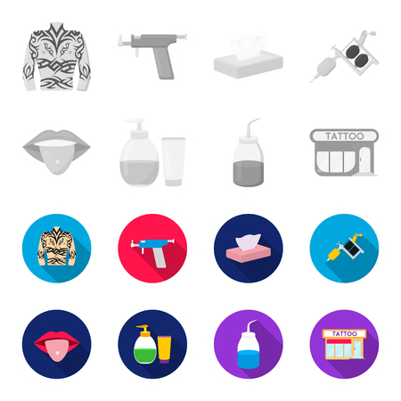Piercing in tongue, gel, sallon. Tattoo set collection icons in monochrome,flat style vector symbol stock illustration web.