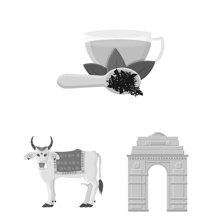 Country India monochrome icons in set collection for design.India and landmark vector symbol stock illustration.