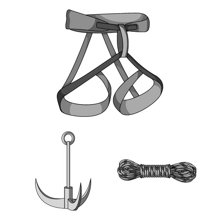 Mountaineering and climbing monochrome icons in set collection for design. Equipment and accessories vector symbol stock  illustration.