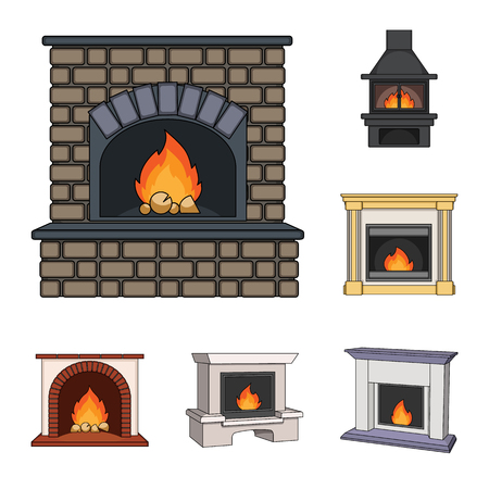 Different kinds of fireplaces cartoon icons in set collection for design.Fireplaces construction vector symbol stock  illustration. Vettoriali
