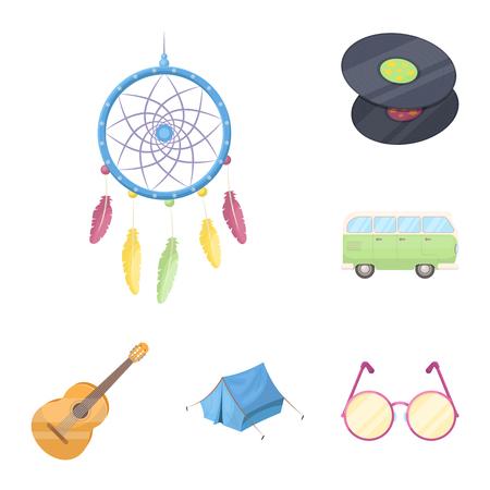 Iconos de dibujos animados feliz y atributo de colección set de diseño. Ilustración de stock de símbolo de vector de feliz y accesorios.