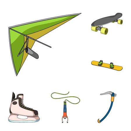 Extreme sport cartoon icons in set collection for design.Different kinds of sports vector symbol stock web illustration.