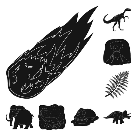 Different dinosaurs black icons in set collection for design. Prehistoric animal vector symbol stock web illustration. Иллюстрация