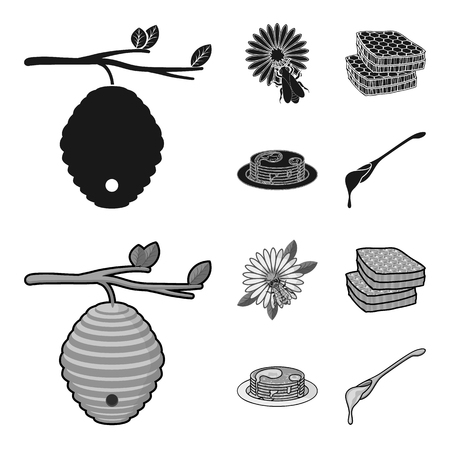 A hive on a branch, a bee on a flower, a honeycomb with honey, a honey cake.Apiary set collection icons in black,monochrome style vector symbol stock illustration web.