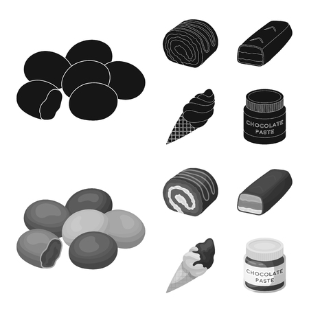 Dragee, roll, chocolate bar, ice cream. Chocolate desserts set collection icons in black,monochrome style vector symbol stock illustration web. Illustration