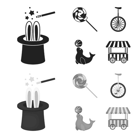 Lollipop, trained seal, snack on wheels, monocycle.Circus set collection icons in black,monochrom style vector symbol stock illustration web.