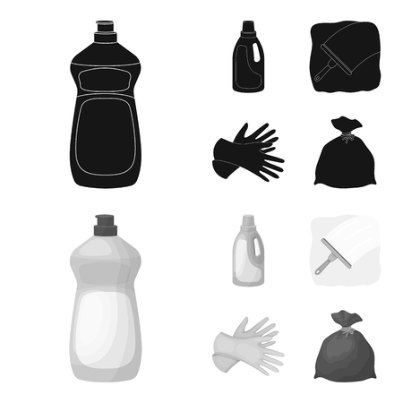 Gel for washing in a pink bottle, yellow gloves for cleaning, a brush for glass, a black bag for garbage or waste. Cleaning set collection icons in black,monochrom style vector symbol stock illustration web.