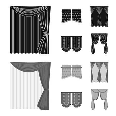Curtains, stick, cornices, and other web icon in black,monochrom style.Bow, fabric, tulle icons in set collection. Vectores