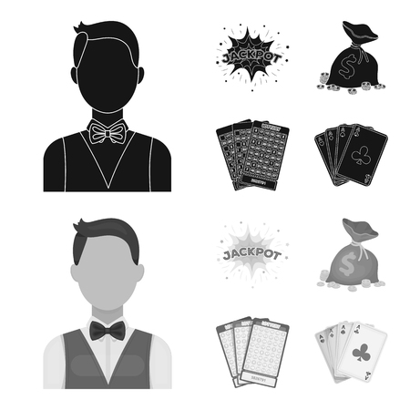 Jack sweat, a bag with money won, cards for playing Bingo, playing cards. Casino and gambling set collection icons in black,monochrom style vector symbol stock illustration web.
