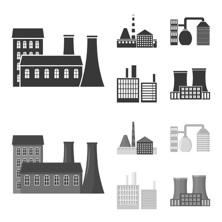 Industry, production.Factory set collection icons in black,monochrom style vector symbol stock illustration web. Vettoriali