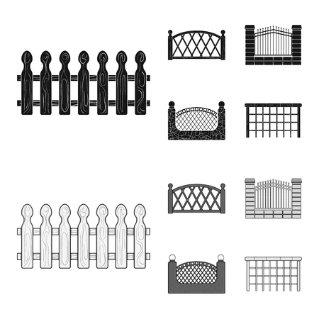 A fence of metal and bricks,wooden palisade. A different fence set collection icons in black,monochrome style vector symbol stock illustration web. Illusztráció